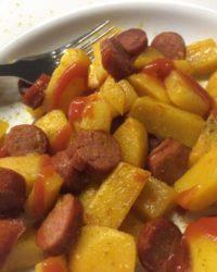 Steckrüben Pfännle mit Rindswurst und Curry