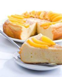 Rezept für Lower-Carb Käsekuchen mit Pfirsich