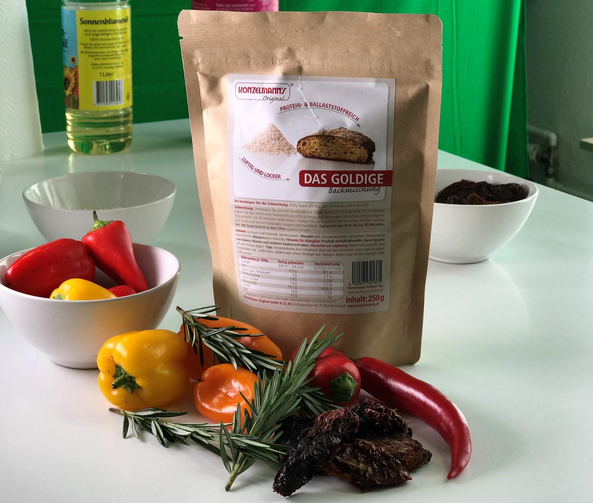 Zutaten für mediterrane Protein Baguettes