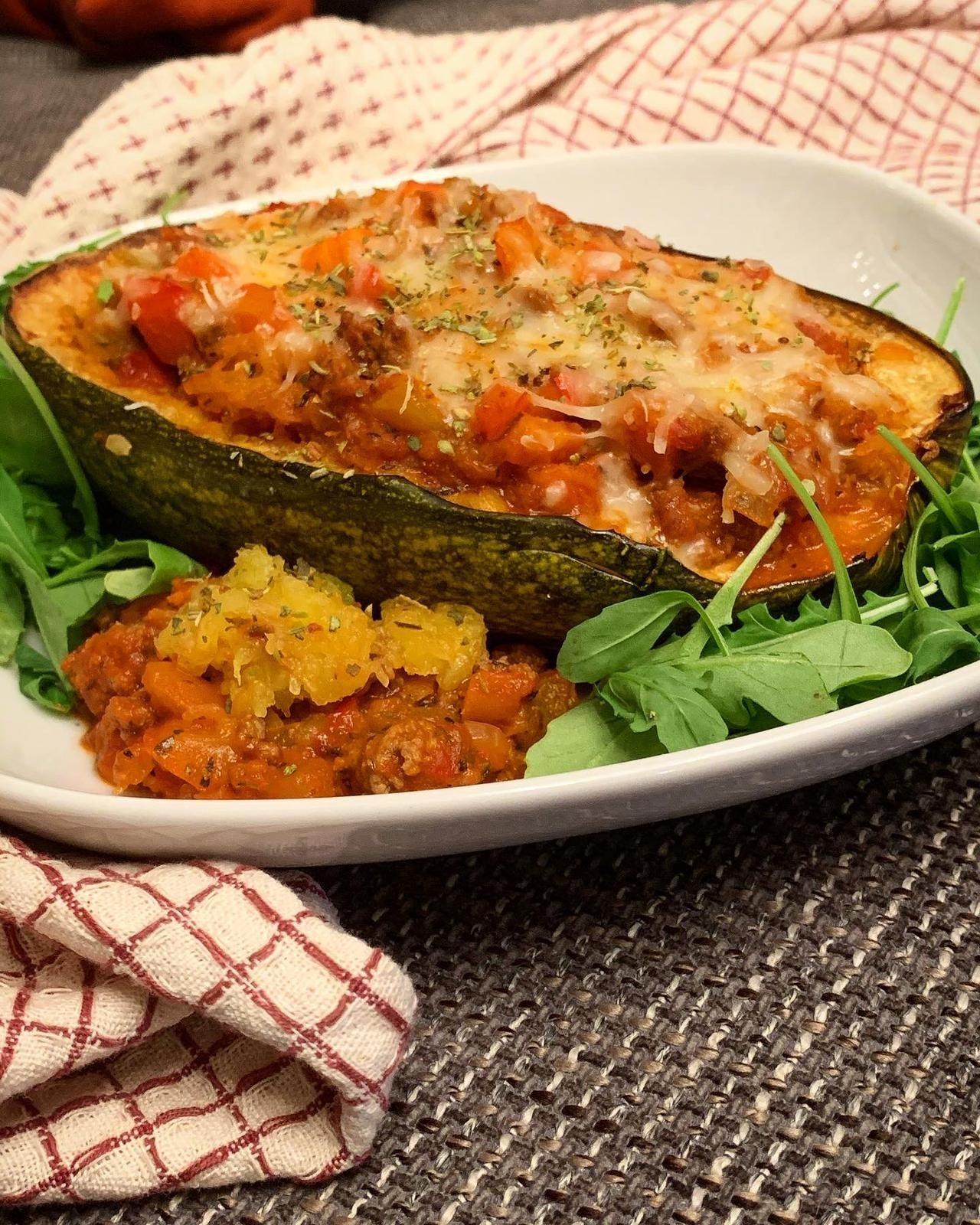 vegetarisch gefüllter spaghetti kürbis mit lupinenschrot (8)