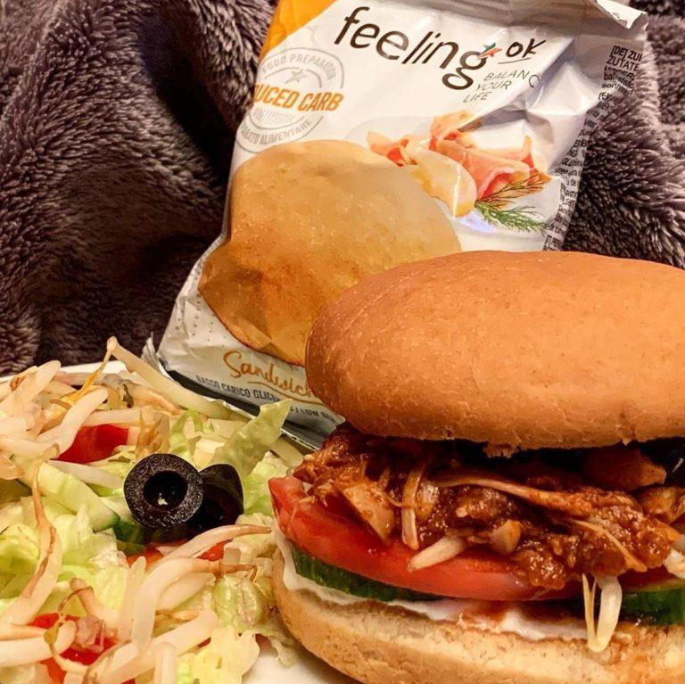 Zubereitung Jackfrucht Burger mit FeelingOK Sandwich Buns