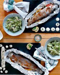 Rezept für Forelle vom Backofen mit falschem Gurken-Kartoffel-Salat