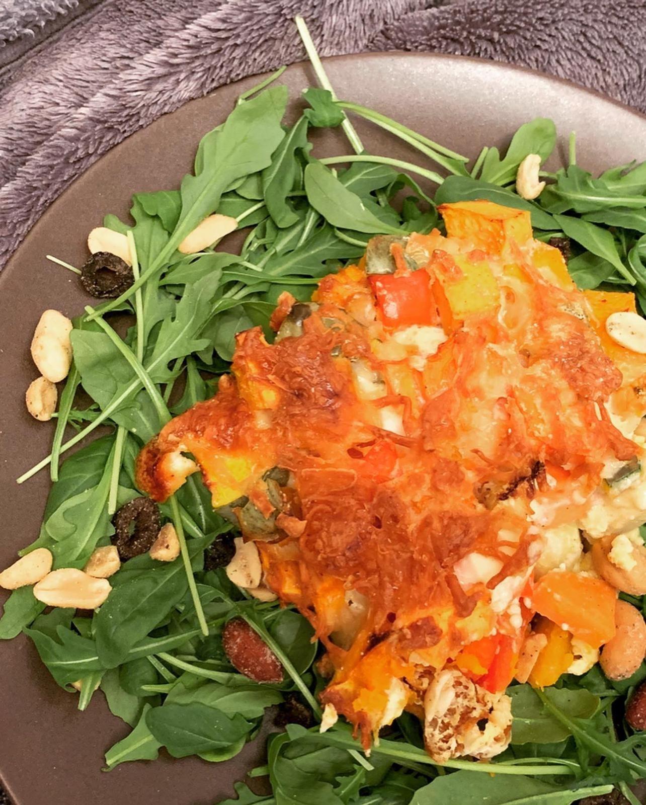 Kürbis Zucchini Auflauf auf Rucola Beet Rezept nachkochen