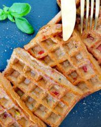 Rezept für Backofen Pizza Waffeln vegan