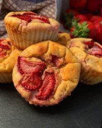 Rezept für Erdbeere Cheesecake Muffins vegan