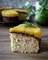 Rezept für Protein Kokos Mango Kuchen vegan