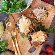 Rezept für Gratinierte Gemüsepuffertürmchen mit Schinken und Brokkoli