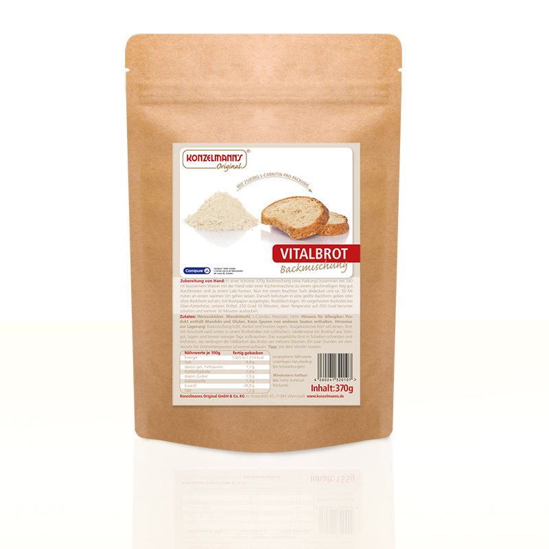Lower Carb Brot Vitalbrotbackmischung mit L-Carnitin