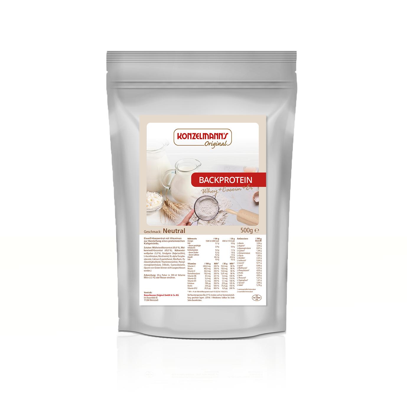 Konzelmanns neutrales Backprotein Pulver 500g